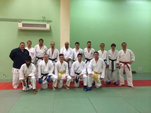 Image of new friends: Ruach and Birmingham University karateka hosted by Sensei John Johnston
